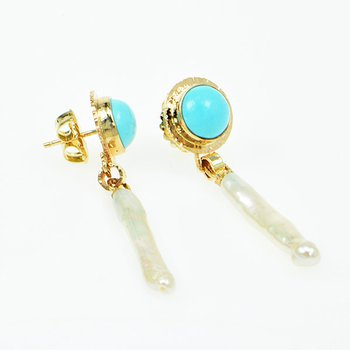 14KY Persian Turquoise and Freshwater Pearl Earrings