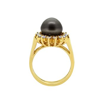 Estate 14KY Dyed Black Pearl Ring