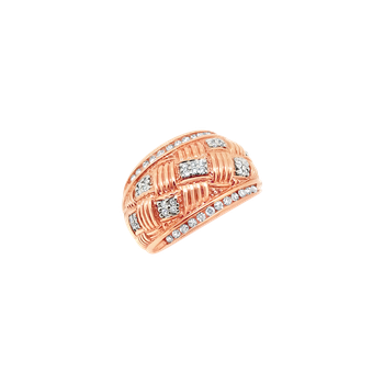 Estate 14KR Dome Ring with Diamonds