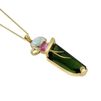 14KY Green Obsidian, Pink Sapphire, and Opal Pendant