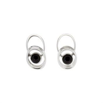 SS Double Oval Black Tourmaline Earrings