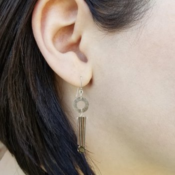SS/Copper Mokume Gane Earrings with Raw Diamonds