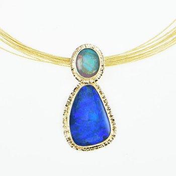 14KY Black Opal Doublet Pendant