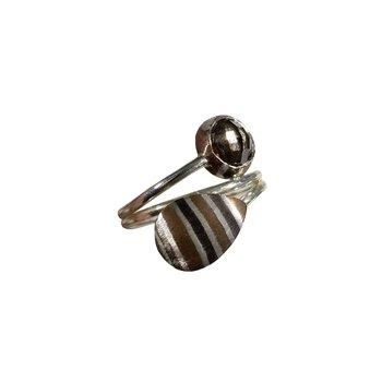 SS/Copper Mokume Gane Bypass Ring with Smoky Quartz