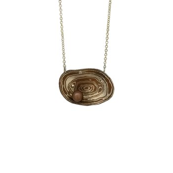 SS/Copper Oval Moume Gane Necklace with Chocolate Pearl and Diamonds