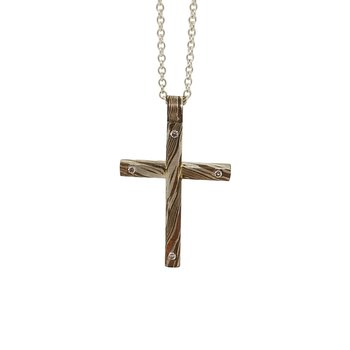 SS/Copper Mokume Gane Cross Necklace with 0.06 cttw Diamonds