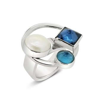 SS Blue Topaz and Pearl Circle Ring