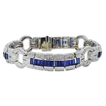 Estate 18KW Sapphire and Diamond Bracelet