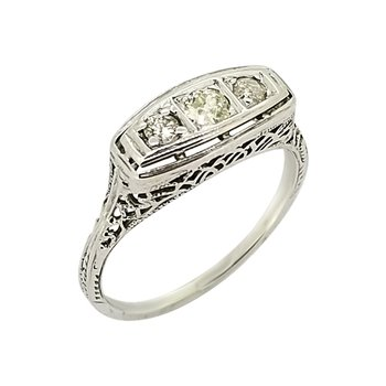 Estate 18KW Filigree Diamond Ring