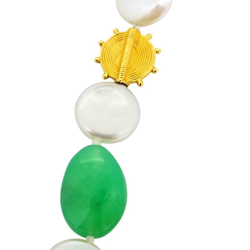 Estate Collection Estate Coin Pearl and Chrysoprase Necklace