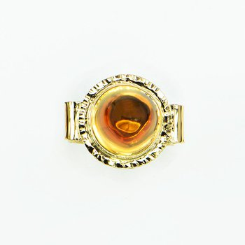 14KY Honey Citrine High-Dome Cabochon Ring