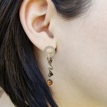 SS/Copper Mokume Gane Twist Earrings with Chocolate Freshwater Pearls