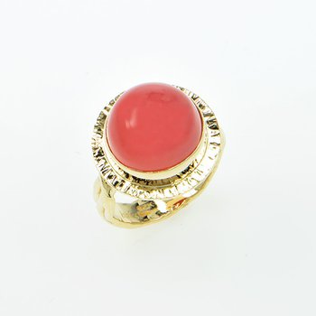 14KY Bustamite Chalcedony Cabochon Ring