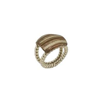 SS/Copper Mokume Gane Ring with Split Shank