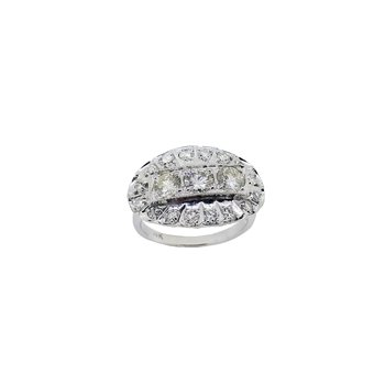 Estate 14KW Diamond Princess Ring