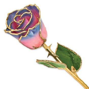Gold Trimmed Pink/Navy Rose