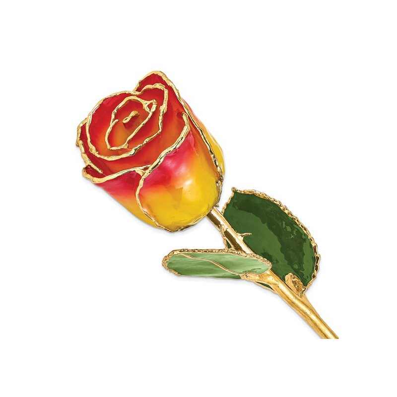 Lester Martin - Imports 24Kt Gold Trimmed Yellow Red Rose