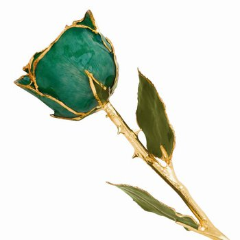 Lacquer Dipped 24k Gold Trim Green Rose