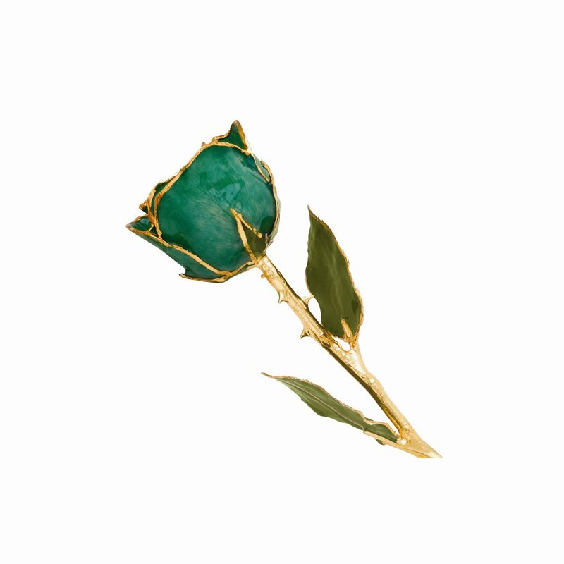 Lester Martin - Imports Lacquer Dipped 24k Gold Trim Green Rose