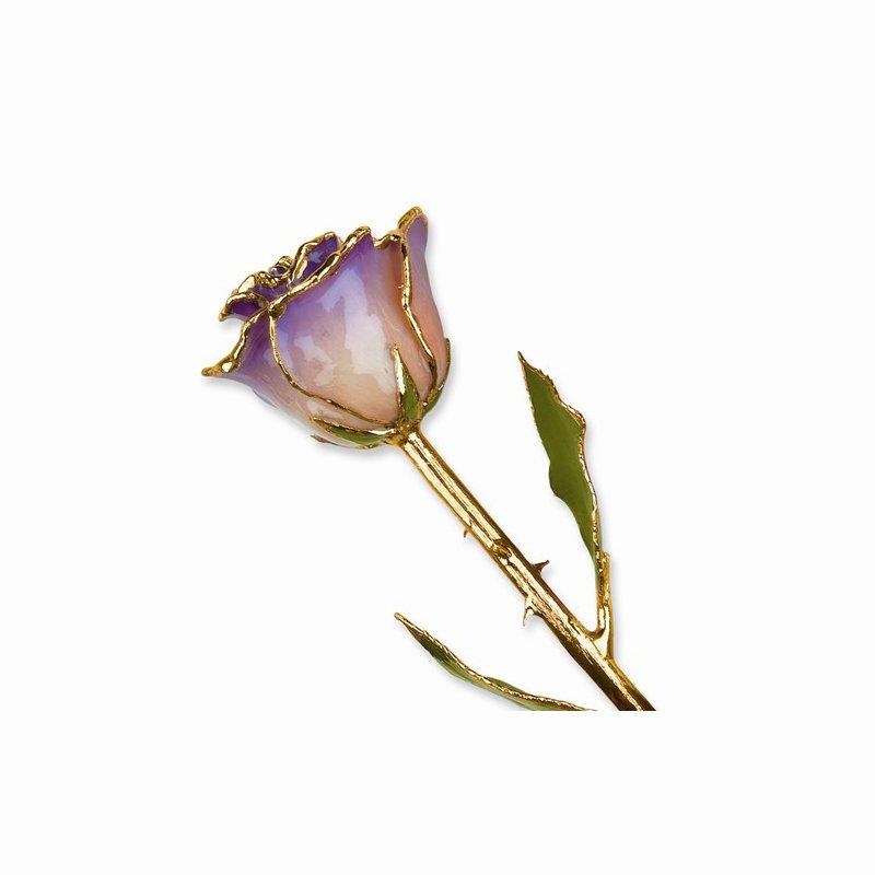 Lester Martin - Imports 24Kt Gold Trimmed White & Blue Opal Rose