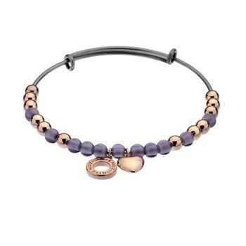Purple Glass And Rose Beads Bracelet