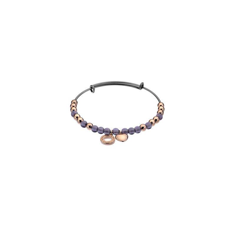 Cosi Bella Purple Glass And Rose Beads Bracelet