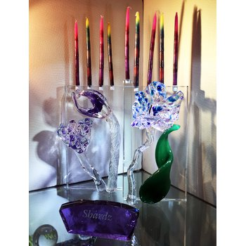 PURPLE AND BLUE FLUER MENORAH