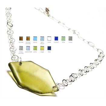 Hex Silver Large Pendant on Large Chain