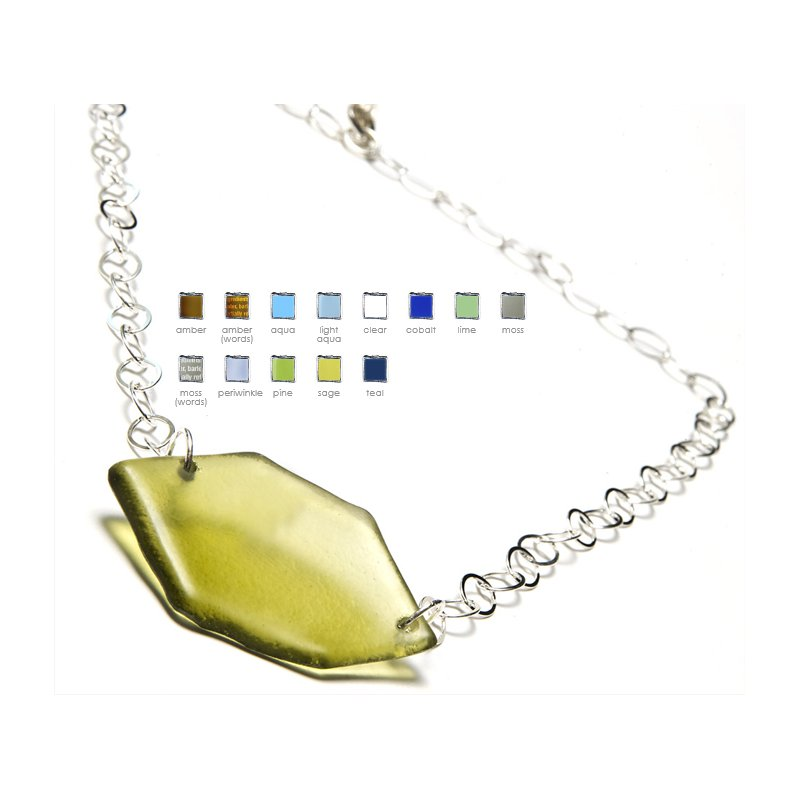 Smart Glass Hex Silver Large Pendant on Large Chain