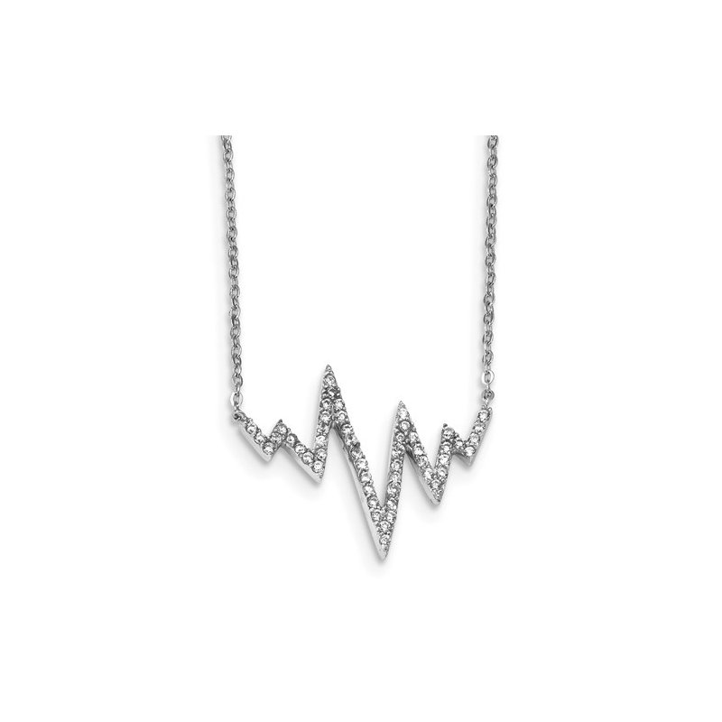"""Lester Martin Online Collection Sterling Silver CZ Heartbeat Necklace 18"""""""