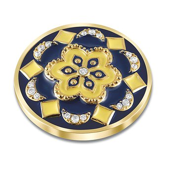 33Mm Blue And Yellow Enamel