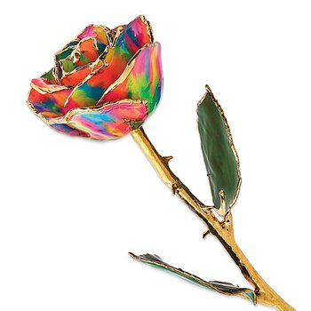 Lacquer Dipped 24k Gold Trim Paradise Neon Tie Dyed Rose