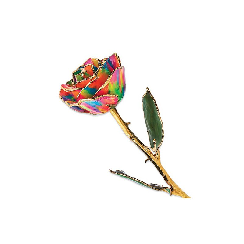 Lester Martin - Imports Lacquer Dipped 24k Gold Trim Paradise Neon Tie Dyed Rose