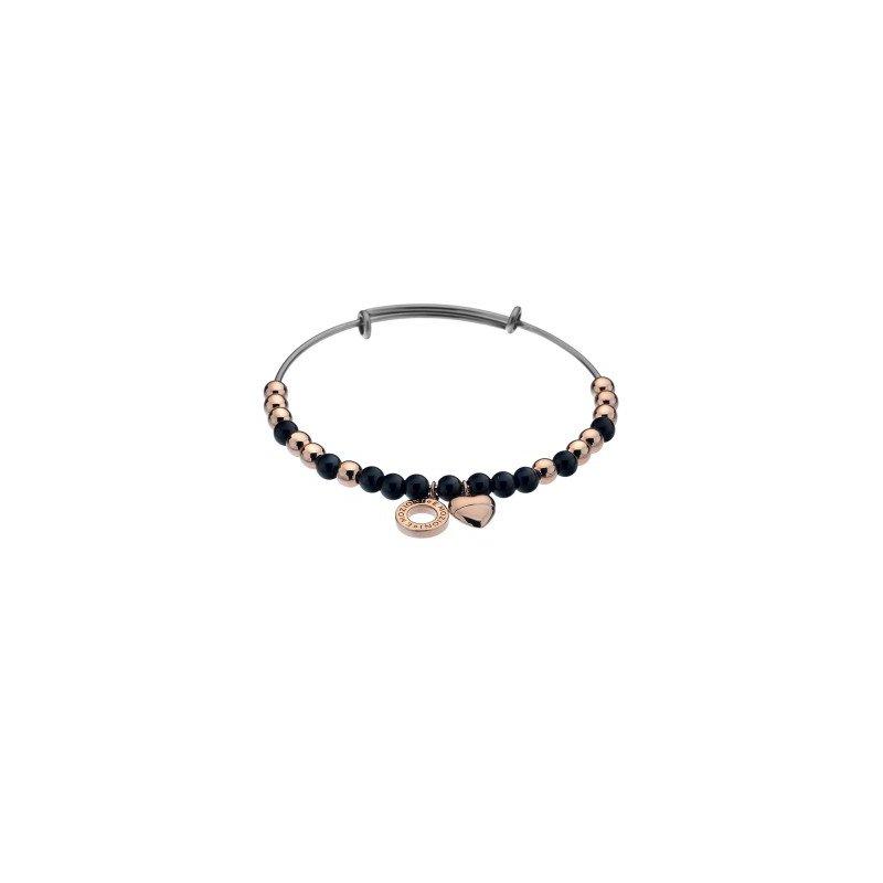 Cosi Bella Black Glass And Rose Beads Bangle