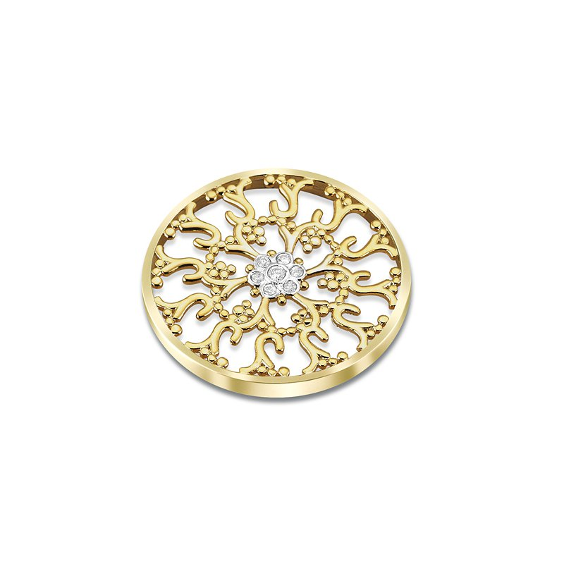 Cosi Bella 33Mm Ornate Yellow Cluster Coin