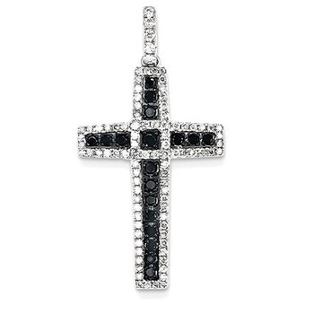 14k White Gold Black and White Diamond Cross Pendant