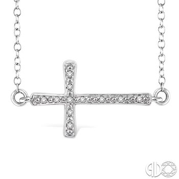1/20 Ctw Round Cut Diamond Cross Pendant in Sterling Silver with Chain