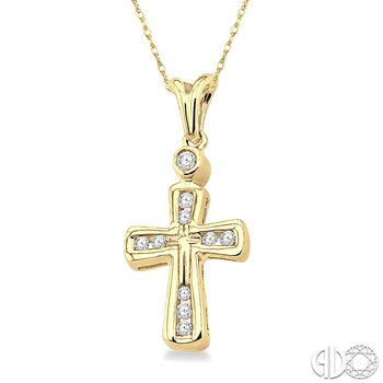 1/10 Ctw Round Cut Diamond Cross Pendant in 14K Yellow Gold with Chain