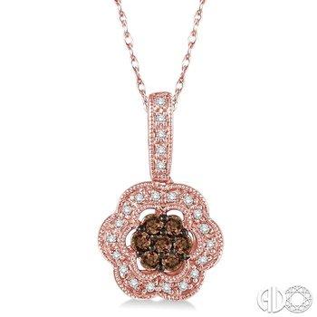 FLOWER SHAPE CHAMPAGNE DIAMOND PENDANT