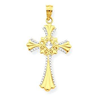 14k w/Rhodium Cross Pendant