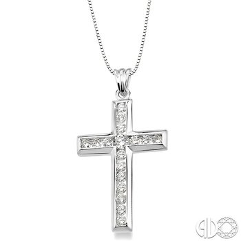 1 Ctw Round Cut Diamond Cross Pendant in 14K White Gold with Chain