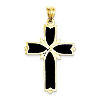 14k Enameled Latin Cross Pendant