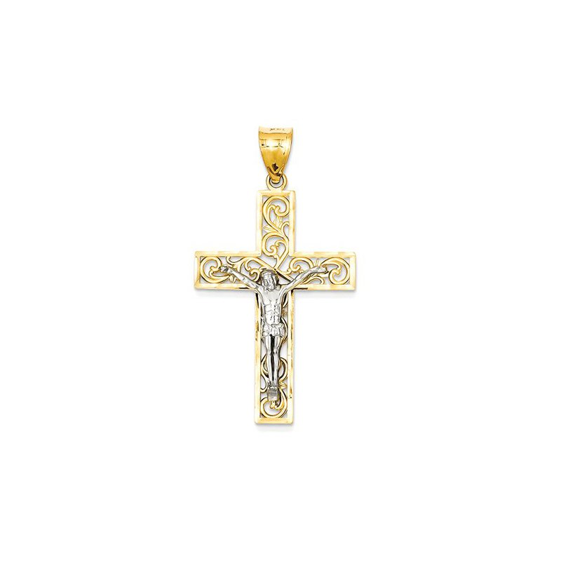 Lovebright Collection Jewelry 14K Two-tone D/C Large Block Filigree Cross w/Crucifix Pendant
