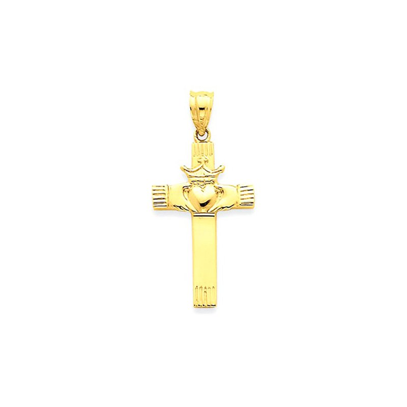 Lovebright Collection Jewelry 14k Claddagh Cross Pendant