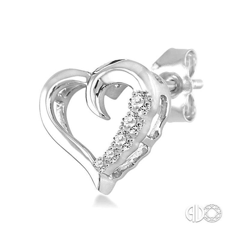 Lovebright Collection Jewelry SILVER JOURNEY HEART DIAMOND EARRINGS