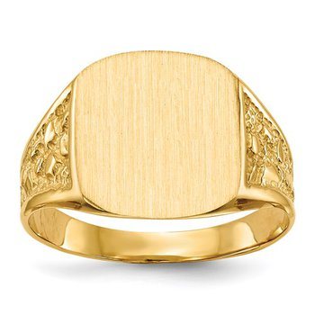 14k 14.0x12.5mm Closed Back Men's Signet Ring