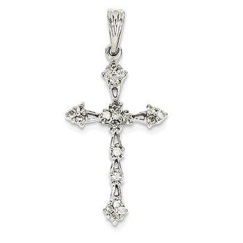 14k White Gold Diamond Cross Pendant