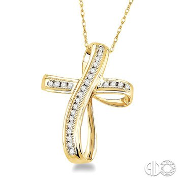 1/4 Ctw Channel Set Round Cut Diamond Cross Pendant in 14K Yellow Gold with Chain