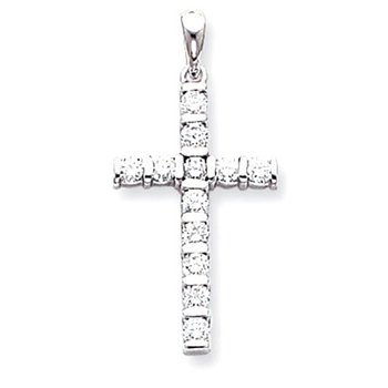 14k White Gold AA Diamond Latin Cross Pendant