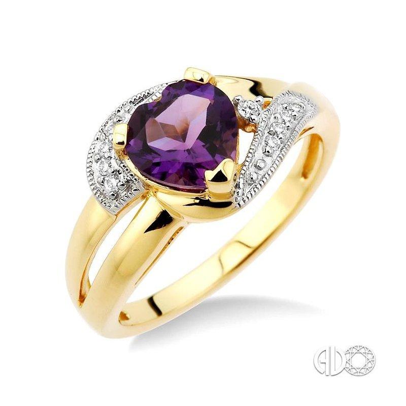 Lovebright Collection Jewelry HEART GEMSTONE & DIAMOND RING